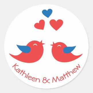 Adesivo Amor vermelho e Lovebirds azuis que Wedding