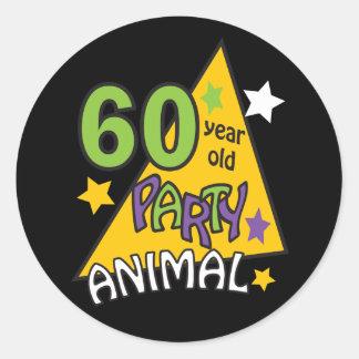 Adesivo Animal de partido das pessoas de 60 anos - 60th