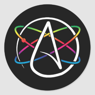 Adesivo Arco-íris ateu do átomo