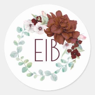 Adesivo As flores de Borgonha envolvem o casamento