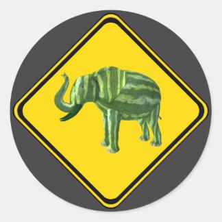 Adesivo Aviso: Cruzamento do elefante da melancia!