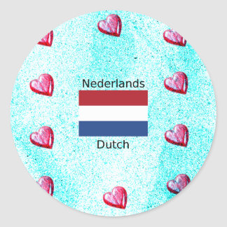 Adesivo Bandeira holandesa e design holandês da língua