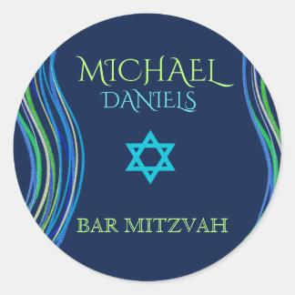 Adesivo Bar xaile azul e verde de Mitzvah de oração
