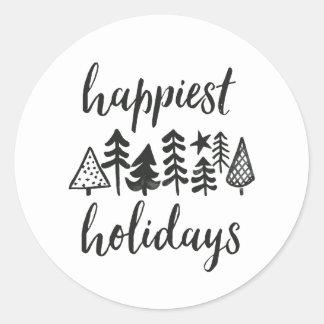 Adesivo Boas festas árvores de Natal da aguarela redondas