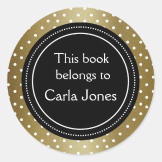 Adesivo Bookplate elegante do preto e do ouro