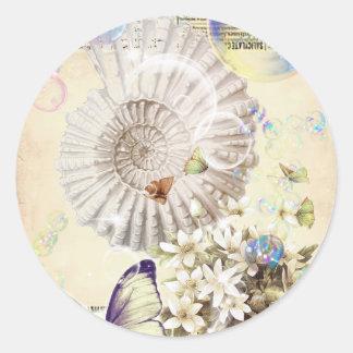 Adesivo botânico francês do seashell bege da borboleta do