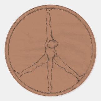 Adesivo Botão redondo do bronze do homem da paz
