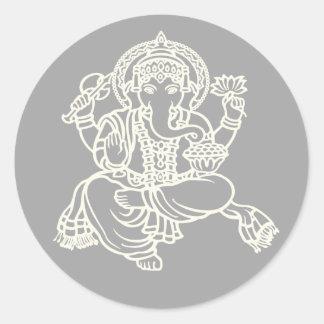 Adesivo Branco de Ganesh no cinza