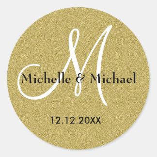 Adesivo Brilho do ouro do monograma dos noivos