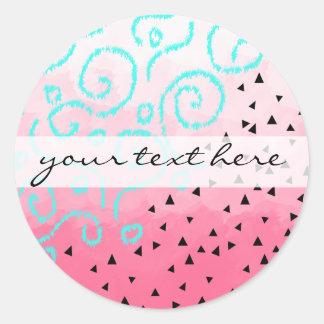 Adesivo brushstroke geométrico do rosa do teste padrão do