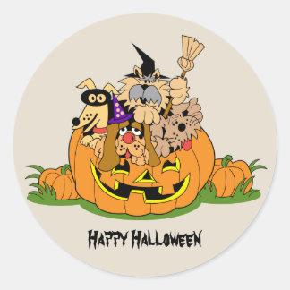 Adesivo Cães felizes do Dia das Bruxas na abóbora