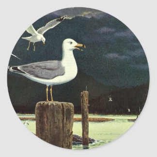 Adesivo Cais empoleirado gaivota do vintage, animais