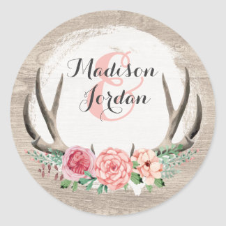 Adesivo Casamento de madeira rústico dos Antlers florais