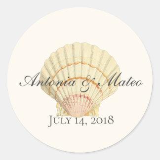 Adesivo Casamento do Seashell do solteiro do Scallop do