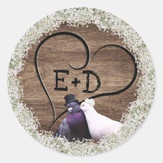 Adesivo Casamento floral rústico do coração de madeira dos