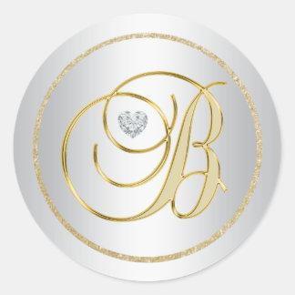 """Adesivo Casamento Monogrammed de """"B"""" do ouro de prata"""