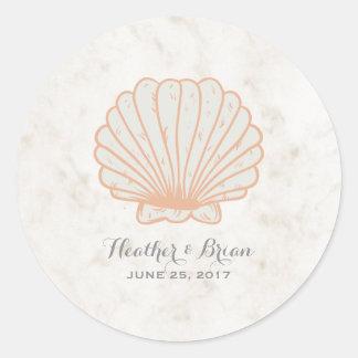 Adesivo Casamento rústico alaranjado do Seashell