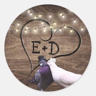 Adesivo Casamento rústico do monograma dos Lovebirds & das