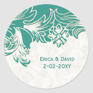 Adesivo Cerceta e design floral branco do casamento do