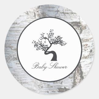 Adesivo Chá de fraldas rústico da árvore de vidoeiro de