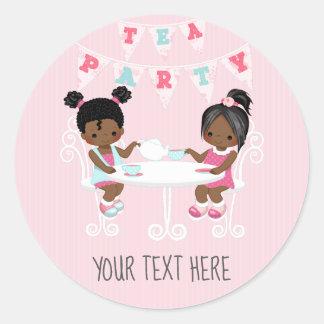 Adesivo Chique do tea party do aniversário da menina