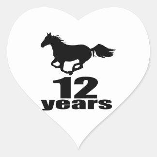 Adesivo Coração 12 anos de design do aniversário