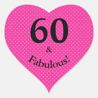 Adesivo Coração 60 & bolinhas cor-de-rosa brilhantes do