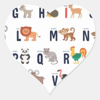 Adesivo Coração ABCs animal - alfabeto