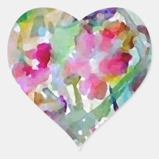 Adesivo Coração Abstrato da aguarela do jardim de CricketDiane