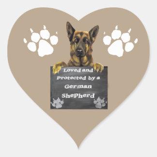 Adesivo Coração Amado e protegido por um german shepherd