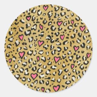Adesivo Coração animal do coração do leopardo/do rosa