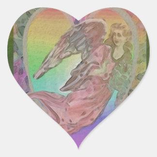 Adesivo Coração Anjo do arco-íris com corações