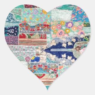 Adesivo Coração Aqua e design azul da tapeçaria da edredão