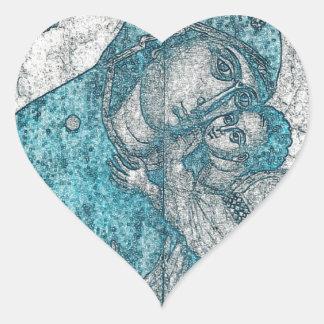 Adesivo Coração Azul do vintage do retrato do anjo de Jesus do