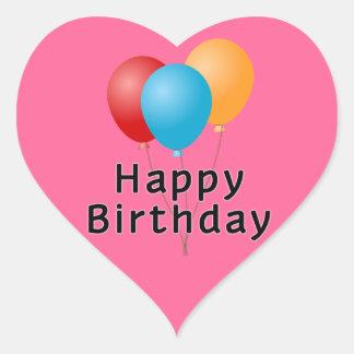 Adesivo Coração Balões do feliz aniversario