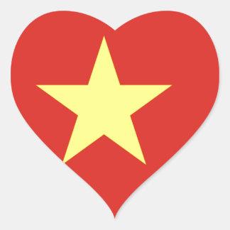 Adesivo Coração Bandeira de Vietnam - vàng do sao do đỏ do amor