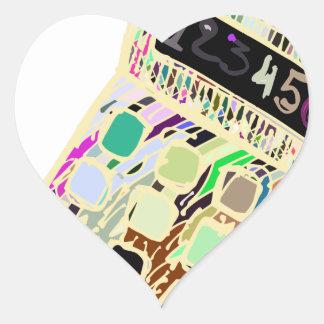 Adesivo Coração calculadora colorida