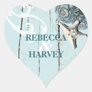Adesivo Coração casamento azul do seashell da praia do aqua