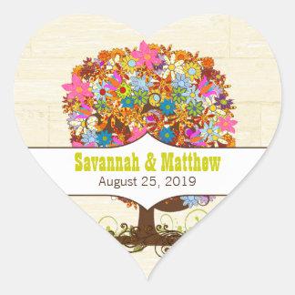 Adesivo Coração Casamento Enchanted do ramo lateral da floresta