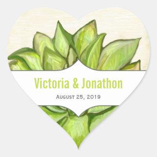 Adesivo Coração Casamento moderno da tipografia do Succulent