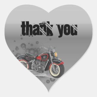 Adesivo Coração Casamento rústico do motociclista de Motorcyle do