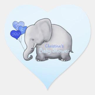 Adesivo Coração Chá de fraldas lindo do menino azul do elefante