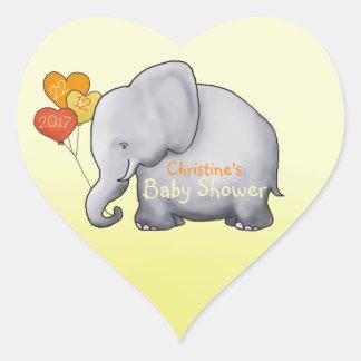 Adesivo Coração Chá de fraldas não sexista do elefante bonito dos