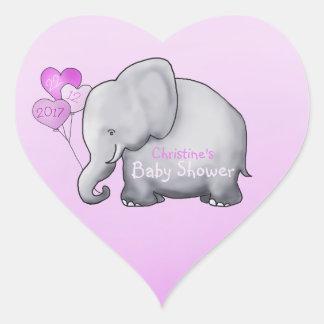Adesivo Coração Chá lindo do bebé do rosa do elefante dos balões