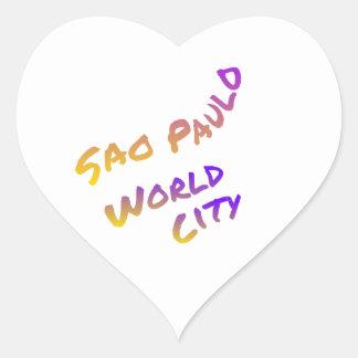 Adesivo Coração Cidade do mundo de Sao Paulo, arte colorida do
