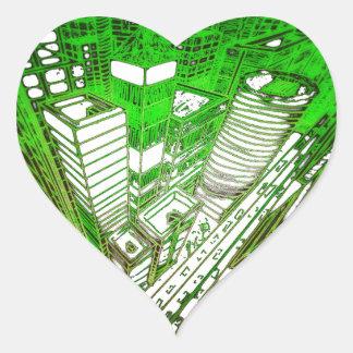 Adesivo Coração city em 3 point version perspective special green