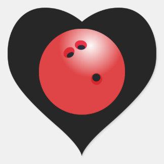 Adesivo Coração Coração vermelho do preto da bola de boliche