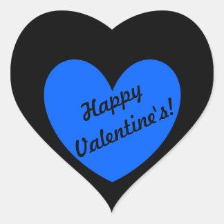 Adesivo Coração Corações azuis da polca no preto