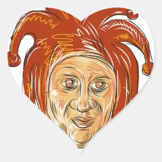 Adesivo Coração Desenho da cabeça do bobo da corte da corte