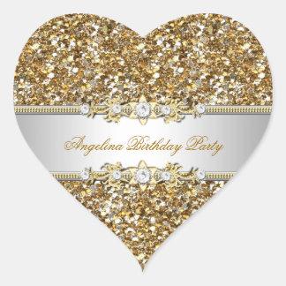Adesivo Coração Diamante da jóia do ouro da festa de aniversário